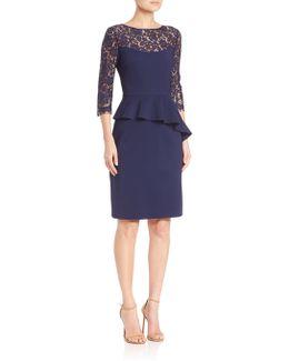 Lace Three-quarter Sleeve Peplum Dress