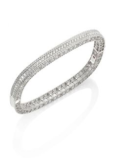 Princess Diamond & 18k White Gold Bangle
