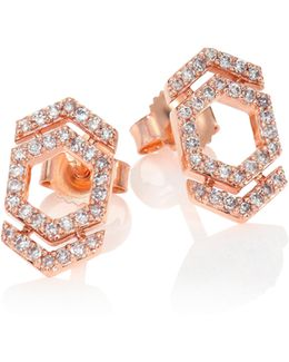 Honeycomb & Double Arrow Diamond & 14k Rose Gold Stud Earrings