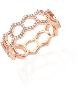 Honeycomb Diamond & 14k Rose Gold Ring