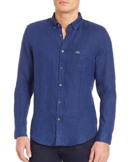 Long Sleeve Solid Linen Shirt
