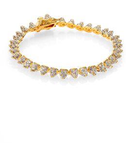 Pave Crystal Mini Cone Bracelet/goldtone