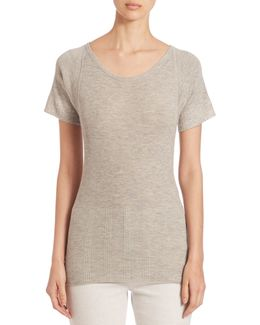 Rib-knit Cashmere & Silk Blend T-shirt
