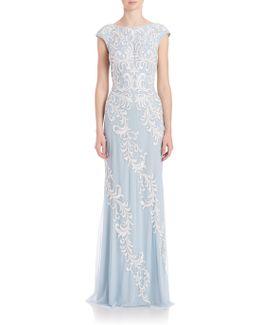Lace-Appliqué Tulle Gown