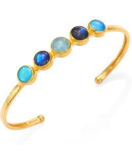 Amulet Hue Opal, Aquamarine, Blue Moonstone & 24k Yellow Gold Cuff Bracelet
