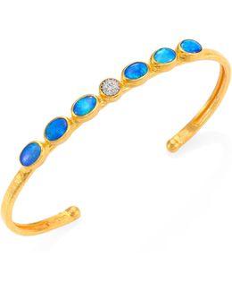 Amulet Hue Diamond, Opal, 24k Yellow Gold & 18k White Gold Cuff Bracelet