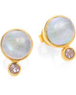 Tulum Ophelia Moonstone & Sliced Raw Diamond Stud Earrings