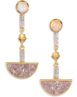 Tulum Arago M Champagne Diamond & Sliced Raw Diamond Drop Earrings