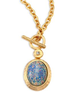 Blue Opal & Crystal Toggle Pendant Necklace