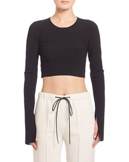 Bao Long-sleeve Ribbed Knit Crop Top
