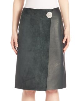 Helga Leather & Suede Wrap Skirt