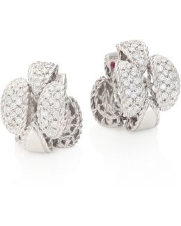 Retro 18k White Gold & Diamond Earrings