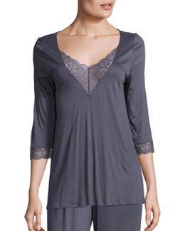 Ginevra Lace Inset Pajama Top