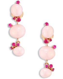 Rubies, Pink Ceramic & 18k Rose Gold Drop Earrings