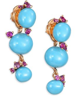 Amethyst & Turquoise Ceramic Round Drop Earrings