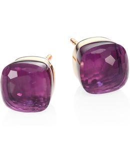 Amethyst, 18k Rose & White Gold Stud Earrings