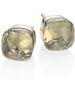 Prasiolite, 18k Rose & White Gold Stud Earrings