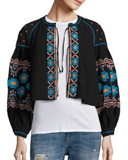 Embroidered Swingy Jacket