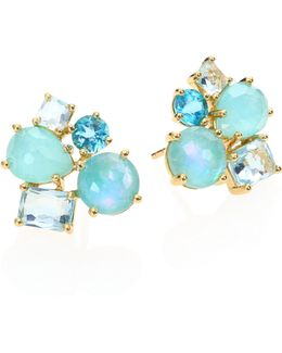 Rock Candy Lapis Opal Doublet, Amazonite, Turquoise, Blue Topaz & 18k Yellow Gold Cluster Earrin