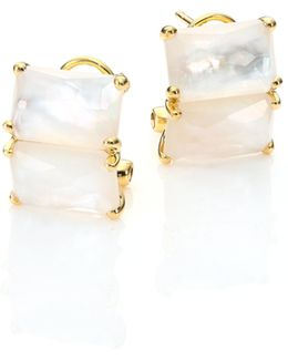 Rock Candy Clear Quartz, Mother-of-pearl & 18k Yellow Goldrectangular Stud Earrings