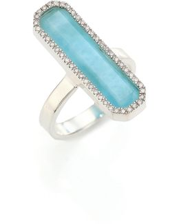 Naida Diamond, Larimar & Sterling Silver Ring