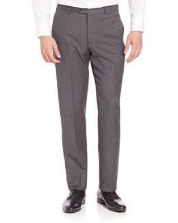 Basic Textured Wool Trousers