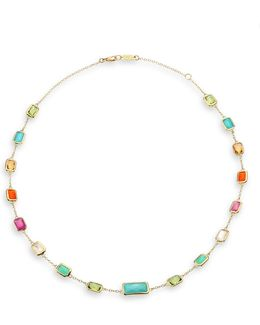 Rock Candy Semi-precious Multi-stone & 18k Yellow Gold Station Necklace