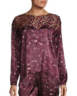 Silk-blend Geometric Long Sleeve Top