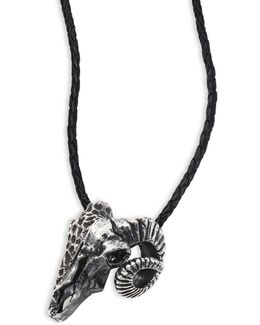 Sterling Silver Ram Skull Pendant Leather Necklace