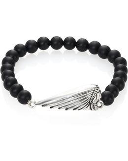 Onyx Bead & Sterling Silver Bracelet