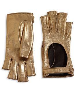 Donna Metallic Leather Fingerless Gloves