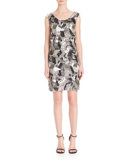 Platinum Geometric Sequin Beaded Dress