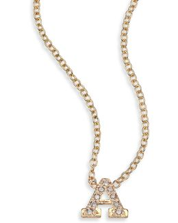 Pave Diamond & 14k Yellow Gold Initial Pendant Necklace