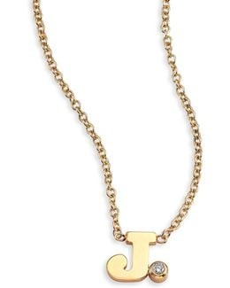 Diamond & 14k Yellow Gold Initial Pendant Necklace