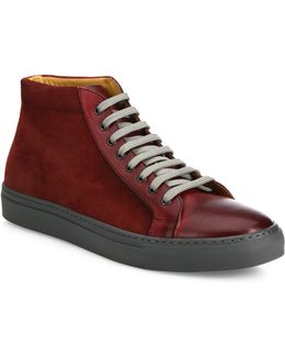 Mix Media Leather High-top Sneakers