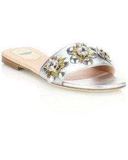 Flowerland Jeweled Metallic Leather Slides