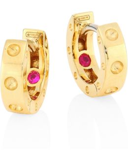 Pois Moi 18k Yellow Gold Huggie Hoop Earrings/0.28