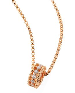 Symphony Braided Diamond & 18k Rose Gold Pendant Necklace