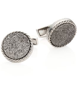 Textured Titanium & Silver Cuff Links