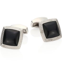 Optic Quadrato Rhodium Plated Brass Cuff Links