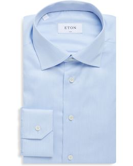 Fine Striped Slim-fit Cotton Dress Shirt