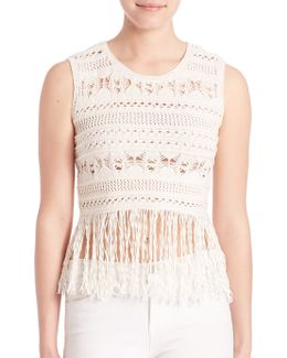 Beccah Bohemian Fringe Knit Crop Top