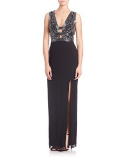 Embellished Cutout Crepe Gown