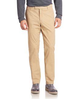 Purple Label Solid Flat-front Pants