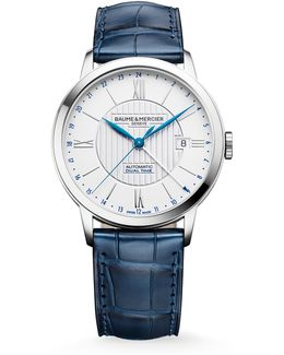Classima 10272 Dual Time Stainless Steel & Alligator Strap Watch