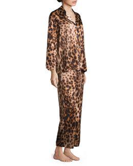 Leopard Printed Charmeuse Pajama