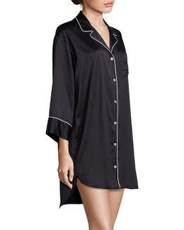 Charm Essentials Solid Button Down Sleepshirt