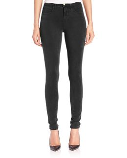 Maria Luxe Sateen High-rise Skinny Jeans