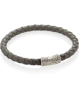 Classic Chain Leather & Sterling Silver Bracelet