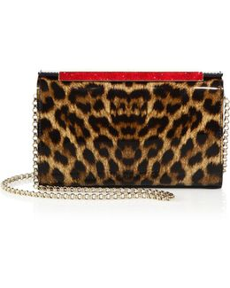 Vanite Small Leopard Patent Leather Clutch